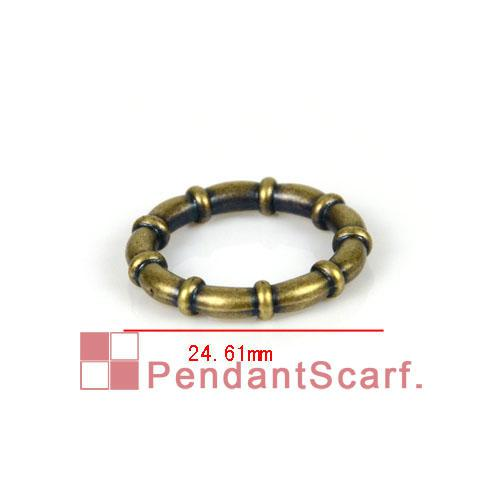 Top Popular DIY Jewellery Scarf Accessories Antique Bronze Plated Plastic CCB Round Bamboo Shape Rings, AC0059C