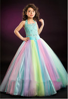 Bright Rainbow Tulle Halter Beads Flower Girls' Dresses...