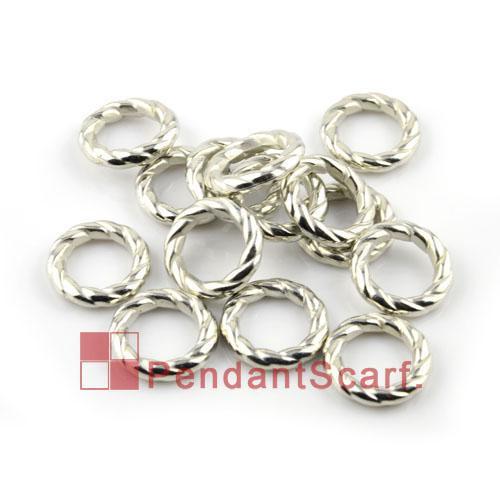 / popolari accessori sciarpa fai da te gioielli brillano argento placcato in plastica CCB cerchio rotondo a forma di spirale anelli, spedizione gratuita, AC0060A