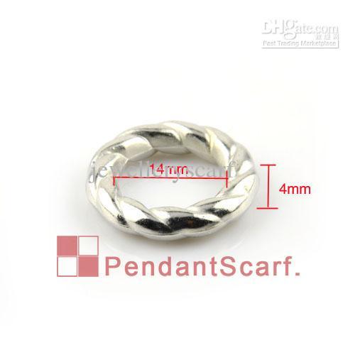 50 UNIDS / LOTE, Accesorios Populares de la Bufanda de la Joyería DIY Shine Silver Plated Plastic CCB Round Circle Forma de Espiral Anillos, Envío Libre, AC0060A
