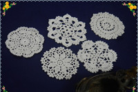 Wholesale hand crochet doilies - Free Shipping hand made crochet doily table cloth , 5 style 11 colors custom crochet cup mat round 10-11cm 50PCS LOT