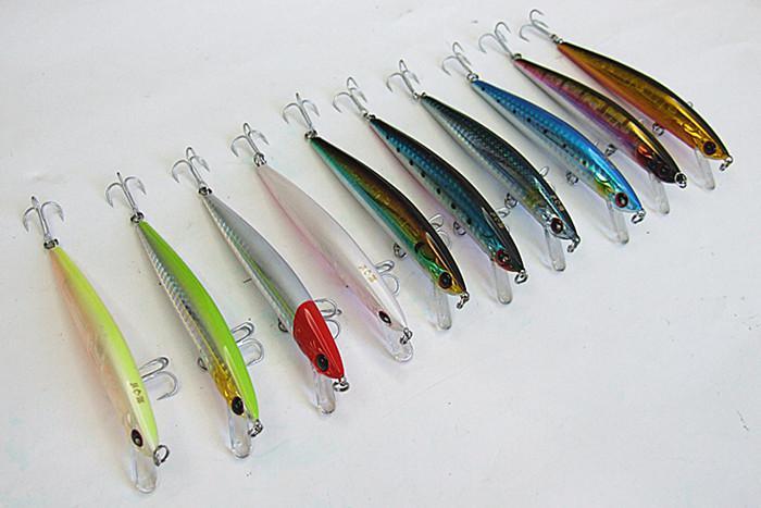 Attaque de pêche Minnow Appâts Pêche Leurre Coulée Leurre Mer Leurre Dur Appâts En Plastique lèvre Chine Crochet Flottant deux taille