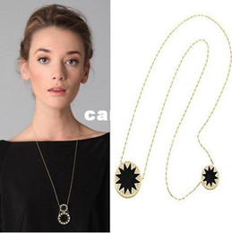 Wholesale Min Order 15 - Min Order Is $15(mixed order)!Gold-Plated Sunburst Stations Necklace With Black Leather,House Of Harlow,Free Shipping Wholesale