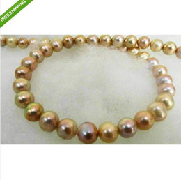 "Wholesale Silver Pearl Genuine - 18""8-9MM SOUTH SEA GENUINE GOLD PINK LAVENDER PEARL NECKLACE 14K"