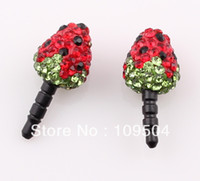 Wholesale Disco Ball Dust Plug - New SUPER Bling Crystal Disco Ball Strawberry Anti Dust Proof Plug for iPhone Samsung ZO19