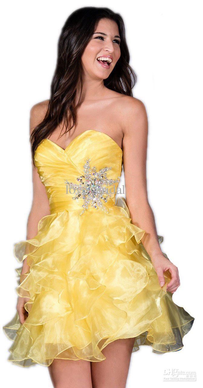 Cheap 2015 Cheap Homecoming Dresses A Line Red Yellow Ruffles ...