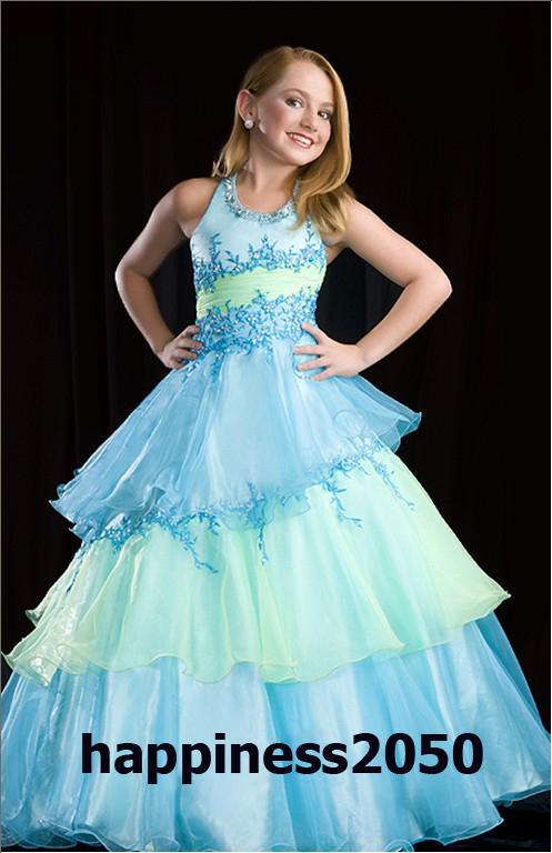 Adorável Azul Verde Organza Applique Flower Girls 'Vestidos Brithday Da Menina Vestidos das Meninas Vestido Formal Vestidos de Férias Personalizado SZ 2-12 DF705192