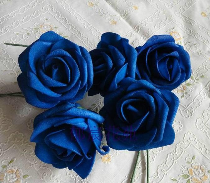 Новые поступления горячей темно-синий 50шт диам.7 см искусственный моделирование PE пены Камелия Роза свадьба Рождество свадебный цветок