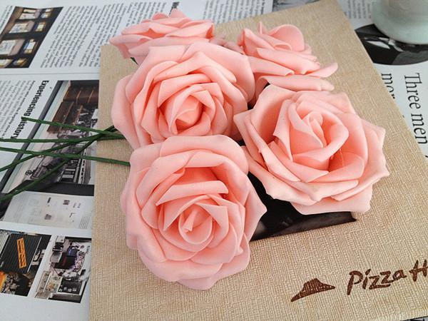 ROSA Cor Dia.7cm Artificial Única Espuma PE Espuma Meia Aberta Rosa De Casamento De Noiva Flor De Noiva