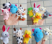 Wholesale Cartoon double deck cloth animal Finger puppet Baby kids Fun Toys random style QS128