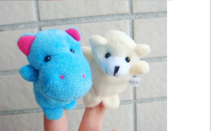 Marionnette à doigt de dessin animé animaux à deux ponts bébé enfants Fun Toys style aléatoire / QS128