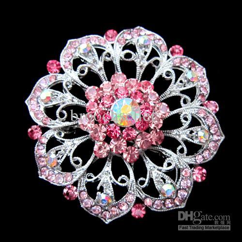 Liga de tom de prata strass rosa de cristal grande flor bolo de casamento pin broche