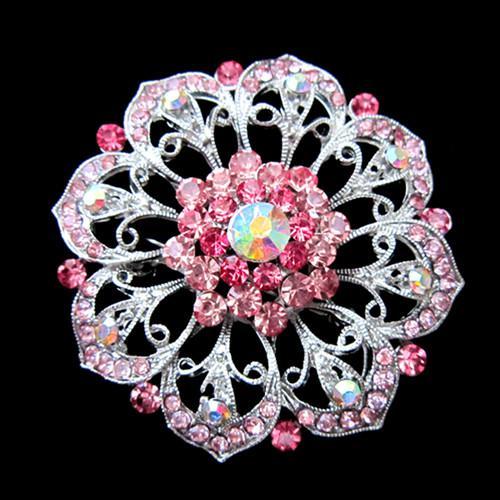 Silver Tone Alloy Rhinestone Pink Crystal Big Flower Wedding Cake Brooch Pin