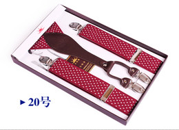 Wholesale Elastic Suspenders Men - Free Shipping brand new men suspenders belt leather elastic suspenders western style trousers suspenders with four clip. mixed order.MM68