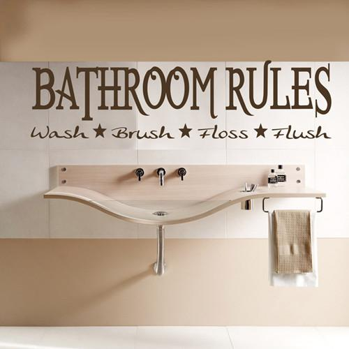 Bathroom Rules Wall Quote Decal Sticker Removable
