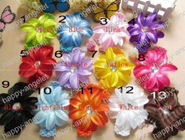 Wholesale Double Flower Baby Headbands - free shipping 30pcs 5inch double layer Lily Flower+ Baby Alligator Clip+1.5inch Elastic crochet Headband Girl headwear 13Color