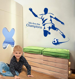 Wholesale Game Television - Soccer Football Game Wall Sticker We Are The Champions Wall Decal Soccer Player Wall Paper