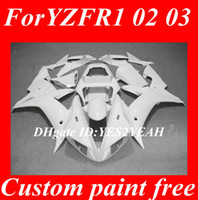 yamaha r1 carenados blanco al por mayor-Kit de carenado para 2002 2003 YAMAHA YZFR1 YZF R1 YZF-R1 YZF1000 R1 02 03 Carenados blancos Carrocerías + regalos YK17