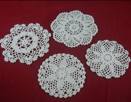 crochet round cloths Canada - wholesale 100% cotton hand made crochet doily table cloth 4 designs 11 colors custom cup mat round 15-20cm crochet applique 20PCS LOT tmh409