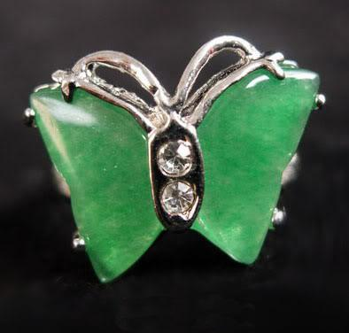 Jade verde 18KWGP Crystal Butterfly Tamanho do anel: 6.7.8.9