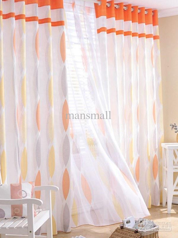 Concise Orange Geometric Poly/Cotton Blend Trendy Curtains U0026Amp; Sheer Set  #u10 17t8 Pink Sheer Curtains Blue Sheer Curtains From Mansmall, $69.83|  Dhgate.