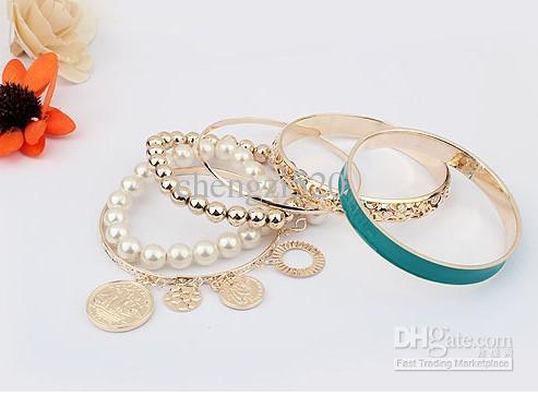 Moda Meninas Pulseiras Conjuntos Ouro / Pérola Bracelet Hollow Multilayer017