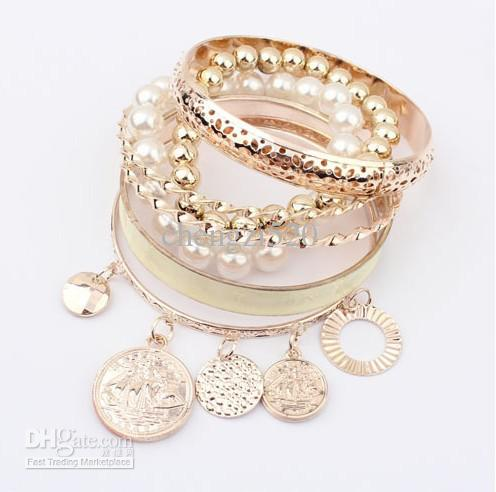 Pulseras de las muchachas de la moda establece la pulsera de oro / perla Hollow Multilayer017