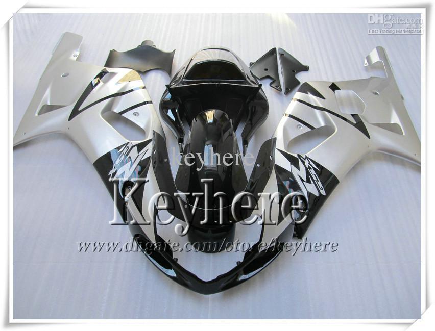 Gratis 7 geschenken Fairing Kit voor Suzuki GSXR600 01 02 03 GSX R600 R750 2001 2002 2003 GSXR 600 750 K1 BIJGELIJKHEID R6L Hete zwarte zilveren carrosserie