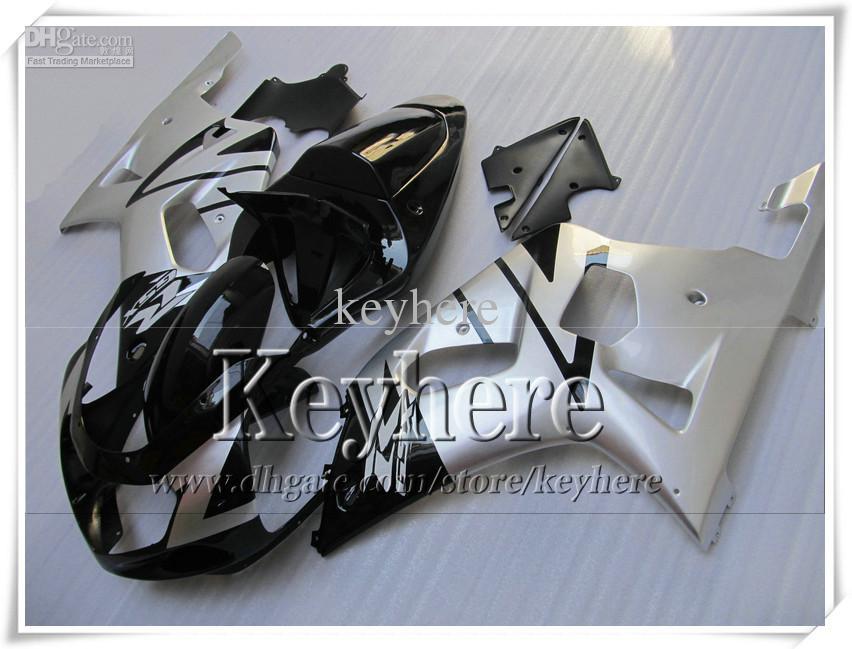 Kit de carénage 7 cadeaux gratuit pour SUZUKI GSXR600 01 02 03 GSX R600 R750 2001 2002 2003 carénage GSXR 600 750 K1 carrosserie argentée noire chaude r6l