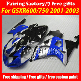 Free 7 gifts fairing kit for SUZUKI GSXR600 01 02 03 GSX R600 R750 2001 2002 2003 GSXR 600 750 K1 fairings r1k hot sale silver blue bodywork