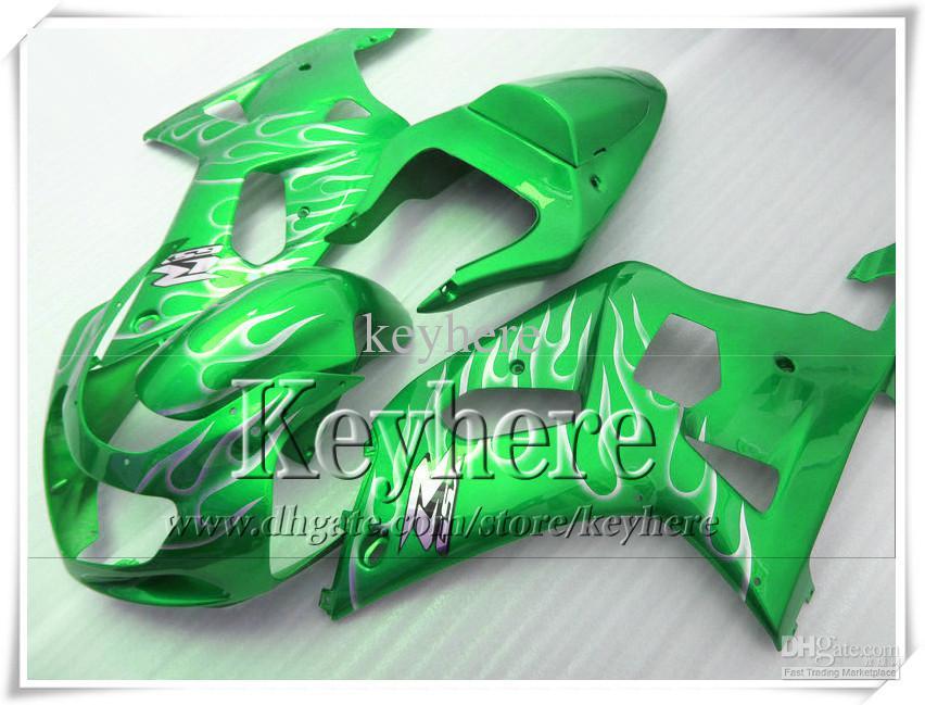 Kit de carenagem para 7 presentes grátis para SUZUKI GSXR600 01 02 03 GSX R600 R750 2001 2002 2003 GSXR 600 750 K1 carenagem r9k flamas prateadas carroçaria verde