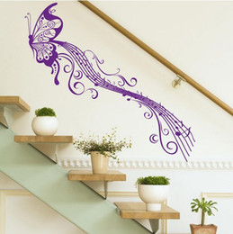 Wholesale Modern Art Music - Retail 1 piece lot Classic Music Butterfly wall stickers color optional, Butterfly Wall Decals Mural Art Wall Decal