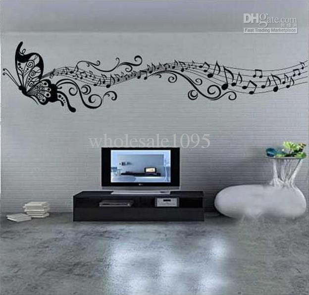 New arrival 2 size classic music butterfly wall stickers - Wand muster schablonen ...