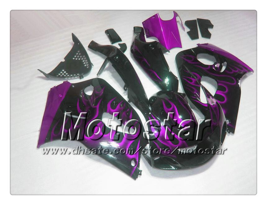 Carene moto 1996-2000 suzuki GSXR600 GSXR750 GSXR 600 750 96 97 98 99 00 fiamma viola in carena nera set AC54