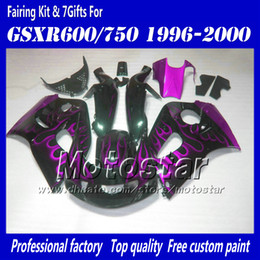 Wholesale Gsxr Fairing Purple - Motocycle fairings for 1996 1997 1998 1999 2000 suzuki GSXR600 GSXR750 GSXR 600 750 96 97 98 99 00 purple flame in black fairing set AC54