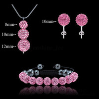 Wholesale Pink Disco Ball Earring Studs - Best Gift Fashion jewellery shamballa disco ball set Hot pink jewelry set necklace bracelets earrings stud set