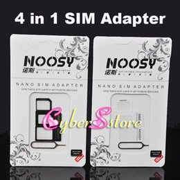 ePacket. 4in1 Nano Micro SIM Standard Adapter Eject Pin For Iphone 5 For Iphone 4 4S With SIM Card Retail Package on Sale