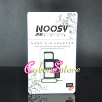 Wholesale Box For Iphone 4s - 4 In 1 Noosy Nano Micro SIM Adapter Eject Pin For Iphone 5 For Iphone 4 4S 6 SIM Card Retail Box Samsung