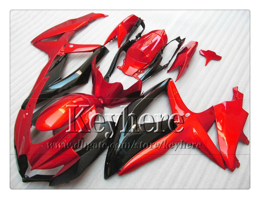 7 regali carenatura ABS SUZUKI GSXR600 R750 08 09 10 GSXR 600 750 2008 2009 2010 K8 carene r2b vendita calda nero rosso parte moto