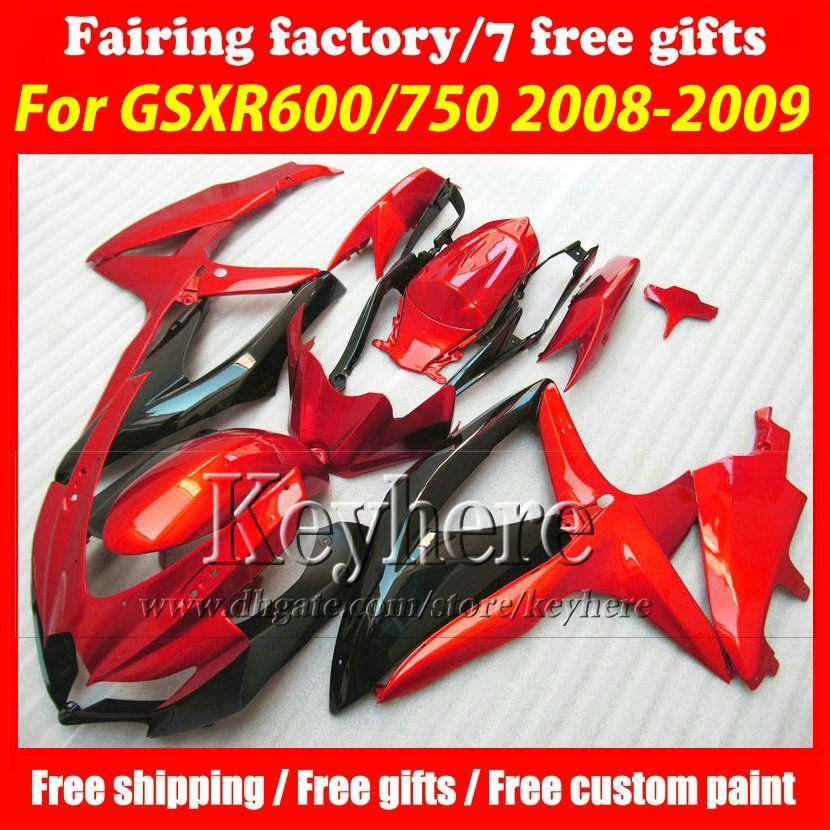 Free 7 gifts ABS fairing kit for SUZUKI GSXR600 R750 08 09 10 GSXR 600 750 2008 2009 2010 K8 fairings r2b hot sale red black motorcycle part
