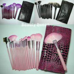 borse di pelle animale in pelle Sconti Set di spazzole per cosmetici 18 pezzi Set di spazzole per cosmetici SET PONY Pelle di animali per capelli * Borsa per borsa in pelle con sacchetto rosa