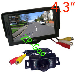 """Wholesale car rear view reverse - 4.3"""" Car LCD Monitor + 7 IR Waterproof Car Rear View Reverse Backup Camera with 5M cable Free Shipping"""