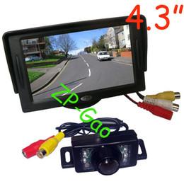 "Wholesale Waterproof Rear View Car Camera - 4.3"" Car LCD Monitor + 7 IR Waterproof Car Rear View Reverse Backup Camera with 5M cable Free Shipping"