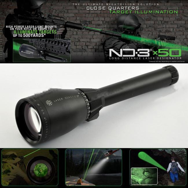 Drss Green Laser Designator Hunting Flashlight With Adjustable Scope Mounts&Battery&Weaver Mount For Night Searching/Hunting/Spotting ND3X50