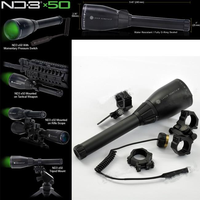 Drss Green Laser Designator linterna de caza con montura de alcance ajustableBatteryWeaver Mount para la noche Searching / Hunting / Spotting ND3X50