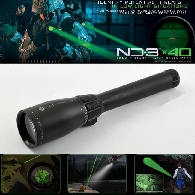 Drss Green Laser Designator Jacht Zaklamp met instelbare scope MountsbatteryWeaver Mount voor Nacht Zoeken / Jagen / Spotting ND3X40