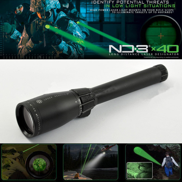 Drss Green Laser Designator Hunting Flashlight With Adjustable Scope Mounts&Battery&Weaver Mount For Night Searching/Hunting/Spotting ND3X40