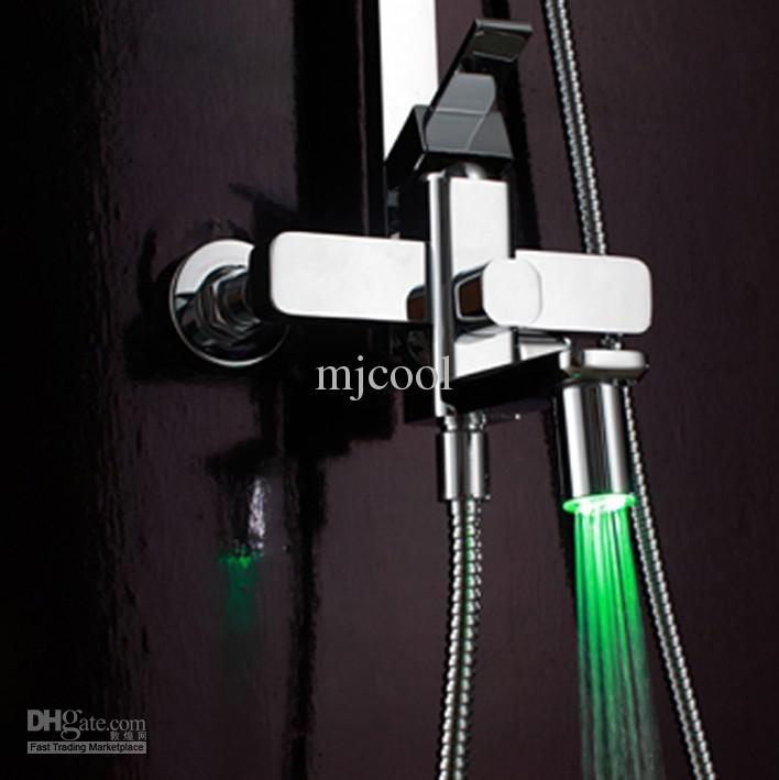 "8"" Brass Square 8 inch Shower Head Hand Shower Faucet Set with Water Hose 8 LEDs RGB"