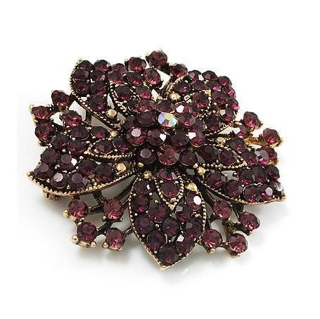 Broche en forme d'épingle à cheveux fleur en cristal strass violet plaqué vintage-bronze