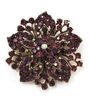 Wholesale purple crystal flower brooch pin for sale - Group buy Vintage Bronze Plated Purple Rhinestone Crystal Flower Bridal Pin Brooch